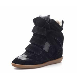 Zeppe invisibili per passerelle di moda stivaletti in pelle scamosciata donna colori misti scarpe alte scarpe da donna stivali invernali autunnali