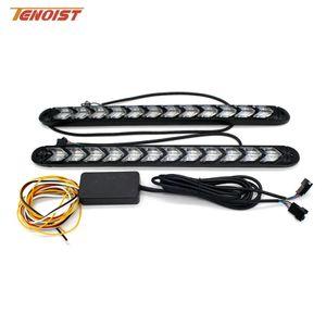 Universal 2PCS Flexible White / Amber Iceblue / Amber Red / Amber LED Day Running Turn Strip Strip Light DRL Para coche 12V DC