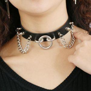 Punk Choker Nieten O Runde Metall Silber Farbe Leder Kragen Bondage Goth Halsreifen Frauen Gothic Opulente Halskette Halsschmuck