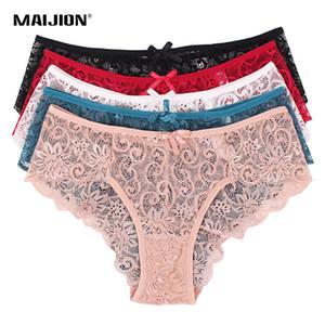 vente en gros 5pcs / pack femmes culottes en dentelle de taille plus, culottes sexy sous-vêtements transparents, lingerie douce taille basse underpant S-XL