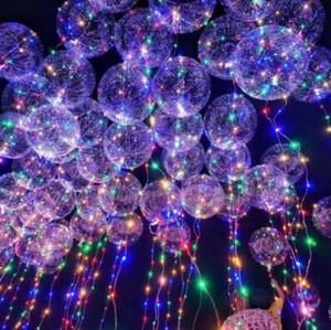20 inç LED Bobo Topu Balon 3 M Dalga LED Hattı Işıkları Dize Aydınlık LED Balon Yanıp Sönen Düğün Dekorasyon Balonlar CCA10758 100 adet