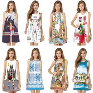 3D Kadınlar Kolsuz Dijital Baskı Gelinlik Modelleri Sıcak Satış Patlama modelleri S-XXL İçin Elbiseler Yaz Mini Elbise Baskı