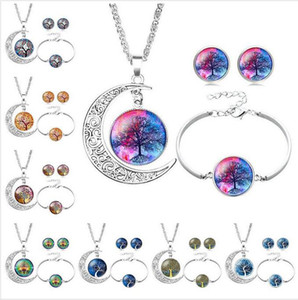 Tree of Life Necklace Bracelet Stud Earrings Jewelry Sets Glass Cabochon Necklace Chains Fashion Jewelry for Women Kids free ship
