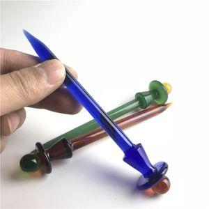 Nuevo Glass Carb Cap Dabber Cera Dab Tool grueso colorido vidrio dabber azul verde marrón XL herramienta de vidrio para cuarzo clavo clavo