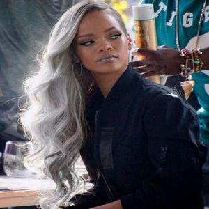 OMBRE Silver Grey Hair Pelucas de encaje completo Virgin Brasileño Pelo humano T1B / Gris enraizado Haired Human Lace Front Wig Wave onda