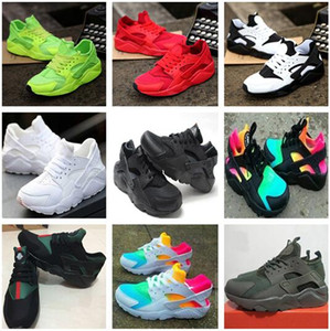 2018 جديد الهواء huarache الاحذية المدربين كبير أطفال بنين بنات الرجال والنساء أسود أبيض outdoors الأحذية حذاء huaraches مجانية