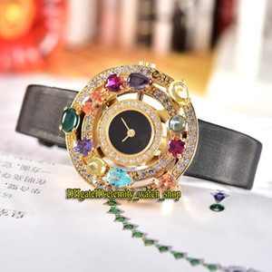 Alta Qualidade Alta Jóias Astrale 102011 AEP36D2CWL Black Dial Quartzo Suíço Womens Watch Ouro Bezel Diamond Leather Strap Lady Relógios
