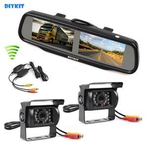 무선 이중 4.3 인치 스크린 Rearview 차 거울 감시자 + 2 x CCD 방수 차 후면보기 백업 백업 자동차 트럭 버스 카메라