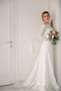 Encaje de la vendimia vestidos de novia de manga larga 2018 joya sin espalda longitud del piso baratos vestidos de novia más tamaño africano por encargo