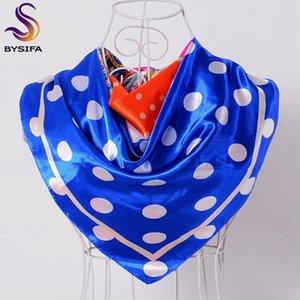 [BYSIFA] Blue Dot Satin Foulards Printemps Automne Turquie Dames Head Head Scarf Cape Air Condition Condition Écharpe