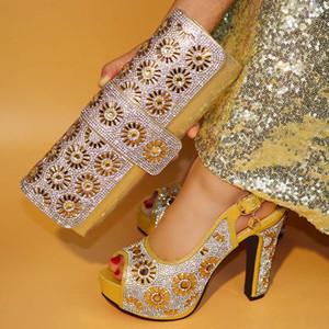 Новое прибытие золотой цвет итальянский соответствия обуви и сумка набор для свадьбы обуви и сумка итальянский дизайн набор африканских обуви и сумка набор