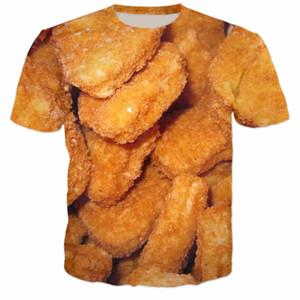 Camiseta impresa 3D de los Nuggets de pollo Camiseta casual Camiseta de manga corta con cuello en O Tops Unisex Ropa de estilo estético