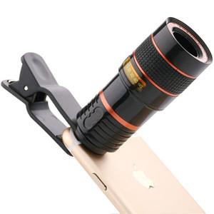 Universal 8X 12XOptical lente de zoom de la lente de teléfono de cámara del telescopio del clip móvil del telescopio del teléfono fotografía Accesorios para el iPhone Samsung Huawei
