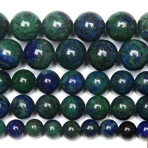 """8 mm Pierre naturelle Chrysocolle Azurite ronde Perles 15"""" Strand 4 6 8 10 12 MM Choisissez la taille pour la fabrication de bijoux"""