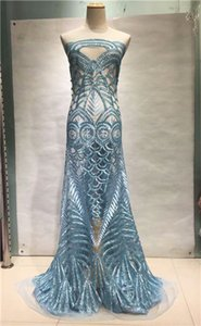 Tela de encaje africano de lujo telas de encaje de tul francés de alta calidad 2018 Tela de encaje de lentejuelas de CIELO AZUL recién llegado para fiesta Dres