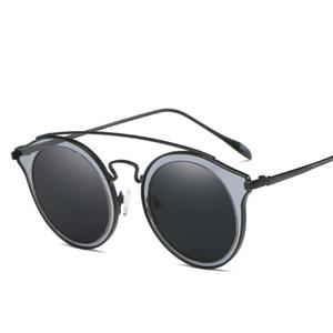 Marco nueva ronda gafas de sol polarizadas gafas de sol brillante pieza Doble Pequeña vidrios claros de la bolsa de tela caja Gafas