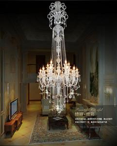 큰 계단 긴 호텔 럭셔리 크리스탈 샹들리에 현대 긴 K9 로비 호텔 lustres 드 크리스털 촛불 샹들리에 고정