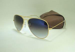 1 Paire Haute Qualité Pilote Gradient lunettes de Soleil En Métal Lunettes De Soleil Pour Hommes Femmes Or Cadre Bleu Verres En Verre Avec Brun Cas