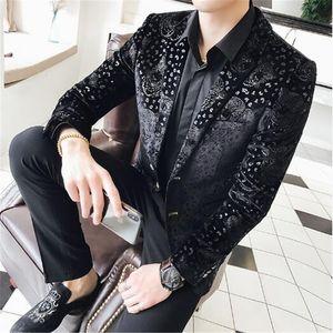 Tang serin 2018 Yeni Varış Erkek Kadife Blazers Çiçek Balo Elbise Blazers Casual Blazer ve Takım Elbise