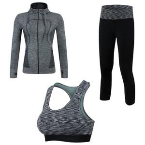 Kadınlar 3 Adet Yoga Spor Takım Sıkıştırma Spor Takım Elbise Tayt Spor Üst Ceket Sutyen Tayt Sporstwear Spor Giysileri