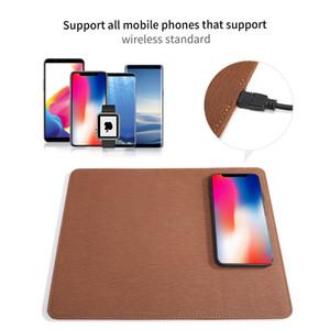 QI cargador inalámbrico mouse pad carga rápida CE RoHS aprobado PU cuero mouse pad pad universal para iPhone Samsung Qi habilitado teléfono celular