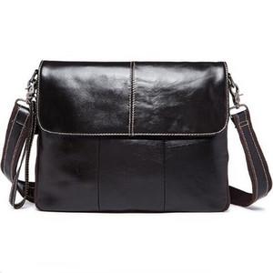 Bolso de los hombres de cuero genuino europeo hombres maletines de cuero de negocios Ordenador portátil Bolsas Bolsos Crossbody Mens Messenger Bag