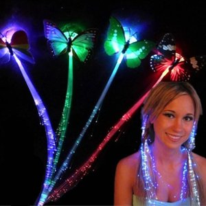 DHL HOT Flash LED Trenzas para el cabello con mariposa Fibra horquilla clips Luminous Hair clip Wig Party KTV Glow Supplies Accesorio para el cabello tocado