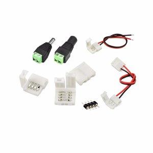 5050 LED 스트립 빛 PCB 케이블 어댑터 5PCS 2 핀의 4 핀 10mm RGB 단색 무료 용접 용 액세서리 압착 PCB