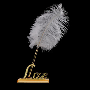 White Feather Pen Signing mit vergoldetem Metall Love Holder Hochzeit Pen-Set Hochzeitsfeier Dekorationen Party Favors Zubehör