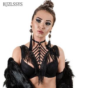 Body Harness Bondage Harness Cinturón de borlas negras Burlesque Frame Bra Fringe Waterfall Sexy Rave de Halloween Lencería