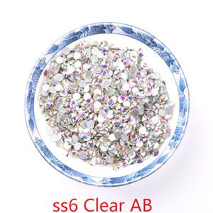 واضح AB 1440 قطعة ss6 أحجار الراين غير الإصلاح الساخنة أحجار الراين الكريستال ظهر مسطح الراين الحديد على الأظافر التغليف الآمن