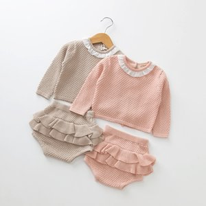봄 새 아기 소녀 옷 코튼 아기 소녀 의상 장식 프릴 탑과 Bloomer 2 PC 베이비 의류 세트 신생아 옷