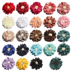 60 PCS 23 cores 5 cm Newborn Do Vintage Rugas Flores de Tecido com Final De Jogo Do Velho Chiffon Flores Do Cabelo para Crianças Acessórios Para o Cabelo