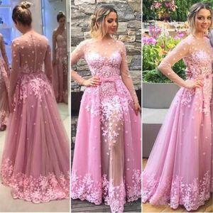 핑크 빈티지 레이스 Overskirt 이브닝 드레스 A 라인 얇은 긴 소매 플러스 사이즈 아프리카 아랍어 정장 댄스 파티 파티 드레스
