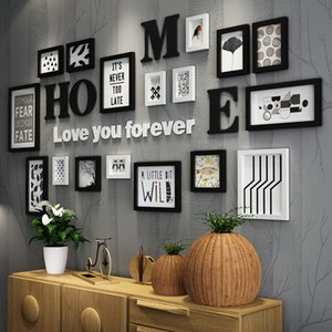 17 pezzi in legno massello di grandi dimensioni cornici soggiorno / negozio moderno Photo Frame Set di grandi dimensioni in legno lettera decorazione della parete di casa fai da te