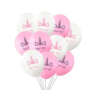 New 100pcs / lot Fashion Unicorn palloncini Happy Birthday Party Decorazioni Kids Pink White Cartoon Unicorn Balloons Unicorn Party Supplies