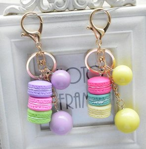 DHL Bread keychain with beads Handbag Accessories Key Chain for Women Purse Bag car Charms couple pendant charm nx