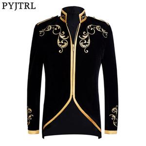 PYJTRL estilo británico Príncipe moda negro terciopelo oro bordado Blazer boda novio Slim Fit traje chaqueta cantantes abrigo