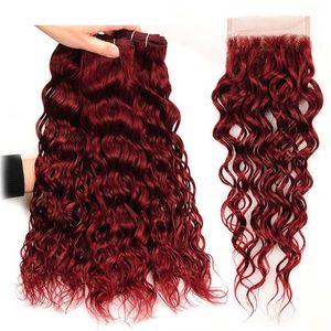 # 99J Бургундия малайзийская волна воды человеческие волосы 3 пучки с 4x4 кружева закрытия 4шт вино красный норки мокрые и волнистые девственные волосы ткать