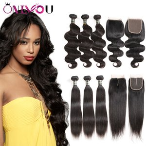 Brazilian Virgin Hair Extensions Straight Body Wave Human Hair Wefts 3 Weave Bundles with 4*4 Closure Raw Indian Peruvian Remy Hair Products