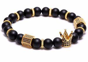 Trendy Mcllroy Black Natural Stone beads bracelet Uomo Copper Micro Pave CZ Cubic Zirconia Charms con corona Braceletsbangle