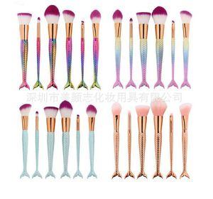 New 11PCS sets Pro Mermaid Makeup Brushes Foundation Eyebrow Eyeliner Blush Powder Cosmetic Concealer Professional Makeup Brushes Set