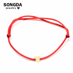Songda linda hilo rojo del corazón de cuerda pulsera multicolor de la cuerda pulseras de la amistad ajustables para enchufes de fábrica Mujeres Niños