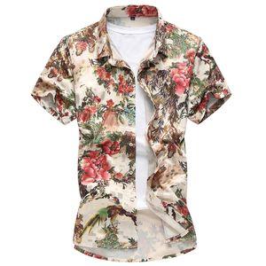 Camicie stampate moda floreale Camicie estate spiaggia 2018 Camicia casual stile cinese a maniche corte Hawaii Turn-down Collar Top