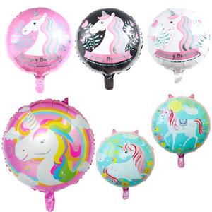 100pcs niedlichen Einhorn Folienballon mit Happy Birthday Brief Luftballons Birthday Party Dekorationen für Kinder Unicorn Party Favors