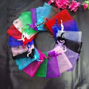 Vente en gros 200pcs / Lot 5x7 7x9 9x12 10x15 cm Cordon clair Organza Sacs Bijoux / Noël / Mariage / Anniversaire / Sacs d'emballage de cadeaux