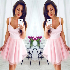 2018 Pink Sexy Spaghetti-Trägern A-Line Homecoming Kleider Chiffon Schatz Sleeveless Knielangen Cocktailkleider Günstige Short Prom Dress
