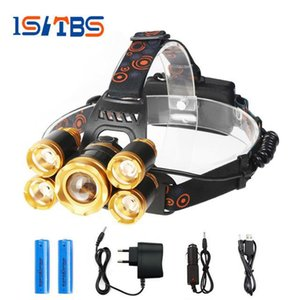 Led phare 5 x XML-T6 LED phare 12000 Lumen lampe frontale lampe de poche Lanterna 4 Switch Modèle Choisissez Chargeur de Batterie