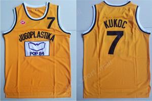 Hombres Moive Toni Kukoc Jersey 7 amarillo baloncesto Jugoplastika Split Pop Jerseys todo cosido para los fanáticos del deporte transpirable envío gratis