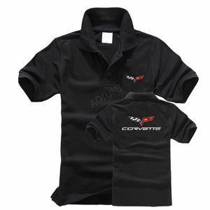 2018 Дизайнер Новый Chevrolet Corvette Рубашки Поло Мужчины Летняя Мода Мужская Хлопок Поло Повседневная Верхняя Одежда Твердые Цвета Роскошные Поло